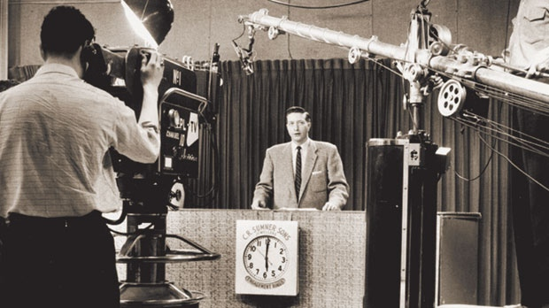Manning the anchor desk at CFPL in the 1950s