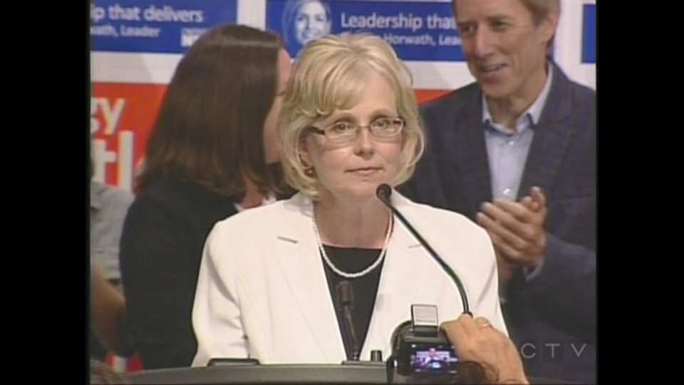London West MPP-elect Peggy Sattler delivers her victory speech in London, Ont. on Thursday, Aug. 1, 2013.
