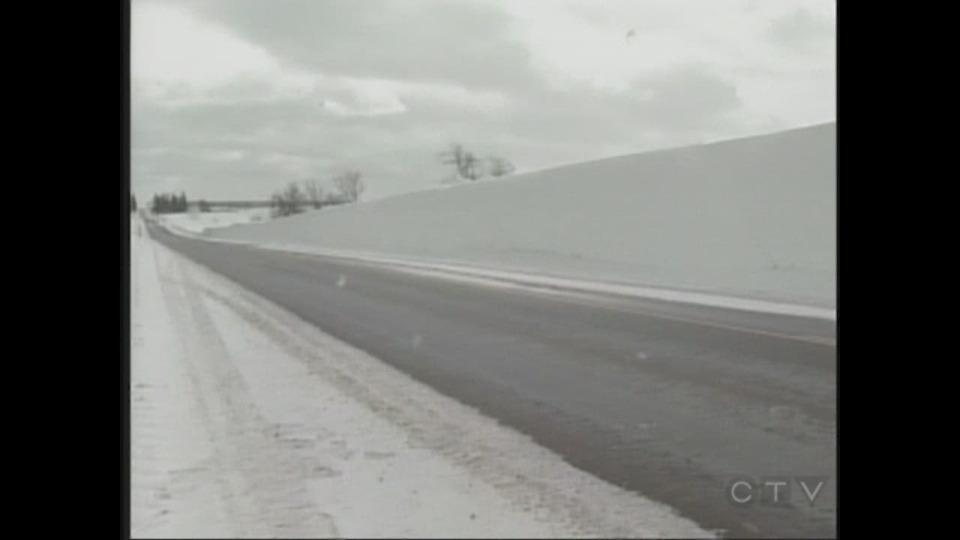 A giant snow bank south of Paisley, Ont. is seen on Thursday, Feb. 6, 2014. (Scott Miller / CTV London)