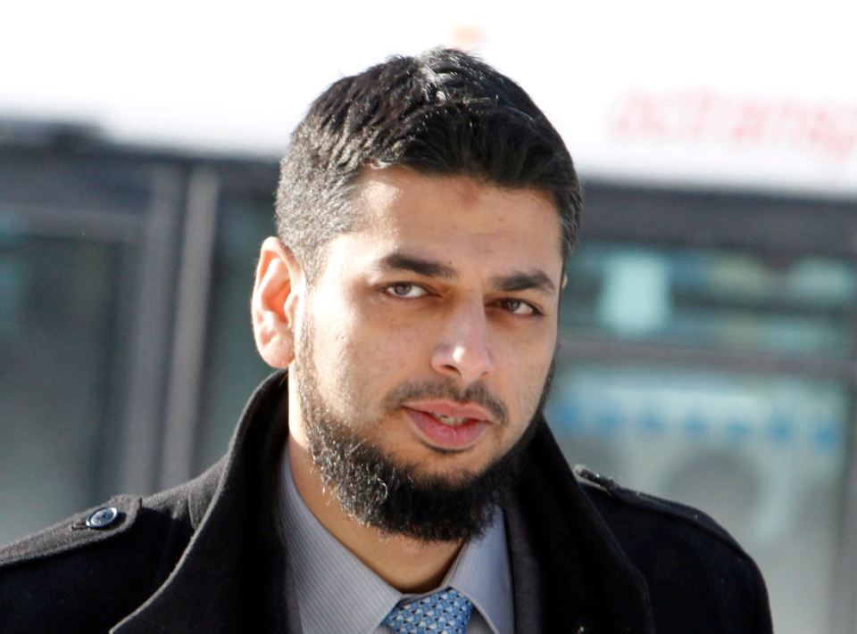 Khurram Syed Sher arrives to face trial on a terrorism charge at the Ottawa court house in Ottawa on Monday, Feb. 10, 2014. (Fred Chartrand / THE CANADIAN PRESS)