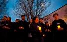 Members of SPLASH, the Etobicoke School of the Arts' show choir sing before a WWF-Canada lantern walk in Roncesvalles Village Toronto, celebrating Earth Hour, Saturday, March 23, 2013. THE CANADIAN PRESS/Galit Rodan