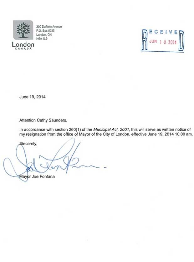joe fontana delivers resignation won 39 t return to public