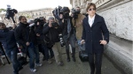 Raffaele Sollecito's lawyer Giulia Bongiorno, right, arrives at Italy's highest court building, in Rome on March 27, 2015. (AP / Alessandra Tarantino)