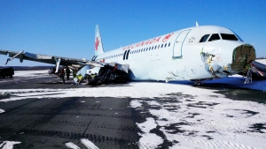 An Air Canada flight slides off the runway during a blizzard in Halifax on Saturday, March 29, 2015