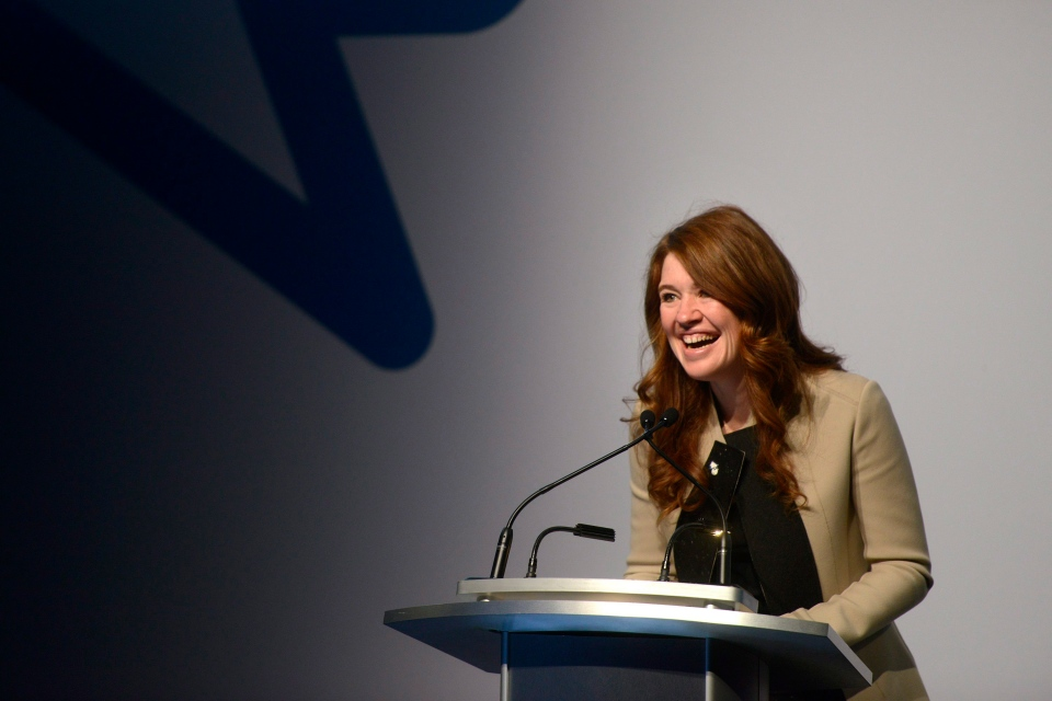 Bell Let's Talk National Spokesperson Clara Hughes speaks at the Bell Let's Talk special announcement held at the TIFF Bell Lightbox in Toronto, Tuesday, Sept, 22, 2015. (Marta Iwanek/THE CANADIAN PRESS)