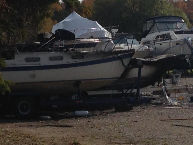 Officials are investigating after seven boats were destroyed in an explosion and fire at the Port Elgin Harbour on Tuesday, Oct. 27, 2015. (Scott Miller / CTV London)