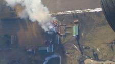 Barn Fire Aerial