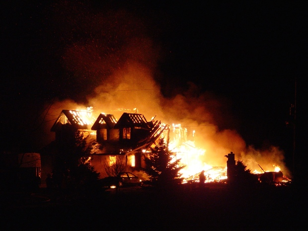 An early morning blaze destroyed a home on the edge of Bluevale, Ont. on Thursday, Feb. 4, 2016. (Credit: PHOTOMYRON)