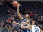 Halifax Hurricanes Billy White, right, defends against Saint John Mill Rats Gabe Freeman in National Basketball League of Canada action in Halifax on Thursday, Jan. 28, 2016. (THE CANADIAN PRESS/Andrew Vaughan)