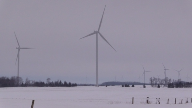 Turbines spin at the Armow Wind Farm near Kincardine, Ont. on Tuesday, Feb. 16, 2016. (Scott Miller / CTV London)