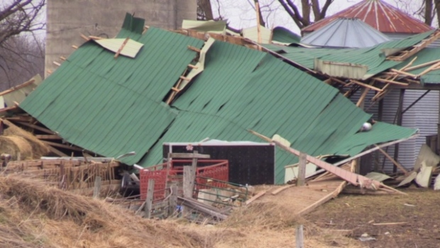 A storm that ripped through midwestern Ontario on Wednesday, March 16, 2016 caused lots of damage. (Scott Miller / CTV London)