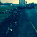 The aftermath of a tractor trailer crash on Highway 401in Elgin County. (Courtesy OPP)