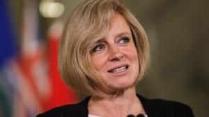 Alberta Premier Rachel Notley speaks during a medi
