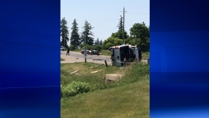 Fatal crash at Old Victoria Road & Wilton Grove Road in London Ont. on June 24, 2016. (Bryan Bicknell/CTV London)