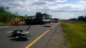 Fatal 402 crash near London Ont. on June 27, 2016. (Courtesy: Western Region OPP)