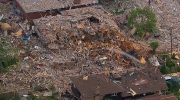 Aerial view of house explosion in Mississauga