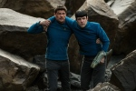 """In this image released by Paramount Pictures, Karl Urban portrays Bones, left, and Zachary Quinto portrays Spock in a scene from """"Star Trek Beyond."""" (Kimberley French/Paramount Pictures via AP)"""