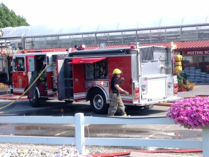 Firefighters battle a blaze at Family Flowers near St. Thomas, Ont. on Friday, July 22, 2016.