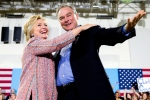 In this July 14, 2016, file photo, Democratic presidential candidate Hillary Clinton, accompanied by Sen. Tim Kaine, D-Va., speaks at a rally at Northern Virginia Community College in Annandale, Va. Clinton has chosen Kaine to be her running mate (AP / Andrew Harnik)