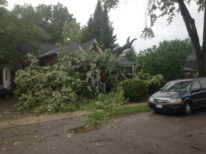 A large branch landed on the porch of an Erie St. home in St. Thomas,Ont., on Monday, July 25, 2016. (Gerry Dewan / CTV London)