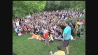 Hundreds of Pokemon Go players come together for a picture after a massive gathering in Ivey Park in London, Ont, on Thursday, July 28, 2016. (Gerry Dewan / CTV London)