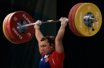 In this Saturday, April 10, 2010 file photo, Russia's Nadezhda Yevstukhina successfully lifts a weight in the Women's 75kg category, during the European Weightlifting Championship in Minsk, Belarus. (AP / Dmitry Brushko)
