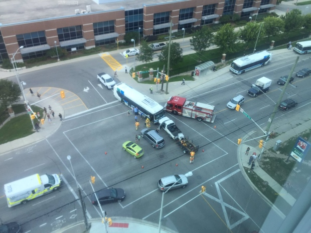 Oxford was blocked late Wednesday afternoon following a crash involving an LTC bus on August 24, 2016. (Courtesy Jason Mcarthur via twitter)