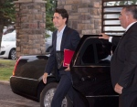 Prime Minister Justin Trudeau arrives at the beginning of a two-day caucus meeting in Saguenay Que. on Thursday, August 25, 2016. THE CANADIAN PRESS/Jacques Boissinot