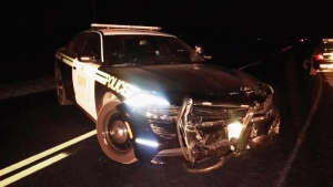 This is one of two OPP vehicles damaged during the pursuit of two suspects on Friday, September 23rd, 2016.
