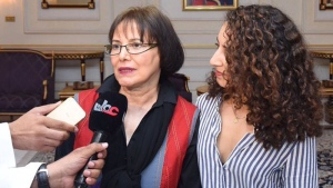 Homa Hoodfar speaks to the media after her release from an Iranian prison (Public Authority for Radio and TV of Oman)