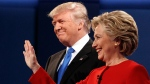 Republican presidential candidate Donald Trump, left, stands with Democratic presidential candidate Hillary Clinton at the first presidential debate at Hofstra University, Monday, Sept. 26, 2016, in Hempstead, N.Y. (AP / Evan Vucci)