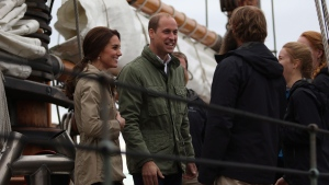 The Duke and Duchess of Cambridge sail aboard the Pacific Grace tall ship with members of the Sail and Life Training society before docking at Ship Point at the inner harbour in Victoria, B.C., Saturday, October 1, 2016. THE CANADIAN PRESS/Chad Hipolito