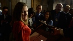 International Trade Minister Chrystia Freeland talks to reporters about the Canada-European Union trade agreement in the foyer outside the House of Commons on Parliament Hill in Ottawa on Monday, October 24, 2016. THE CANADIAN PRESS/Adrian Wyld