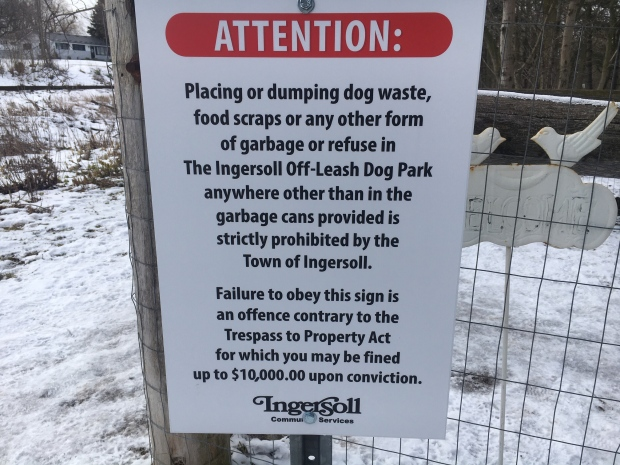Ingersoll Dog Park rules