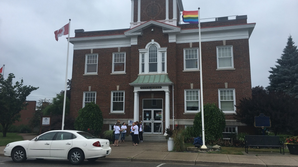 Rainbow flag raised outside of City Hall