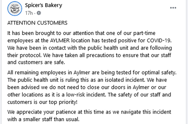 Spicer's Bakery Aylmer COVID FB post