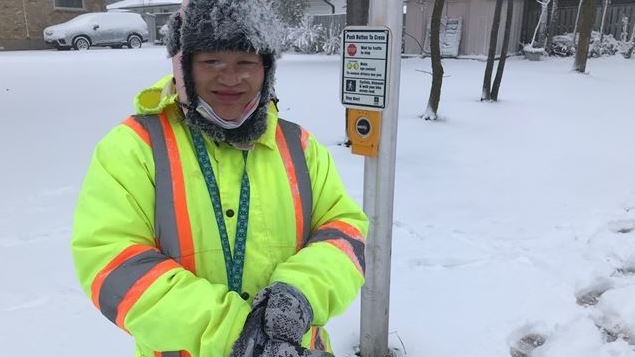 Crossing guard Rhea Laxamana-O'Hara