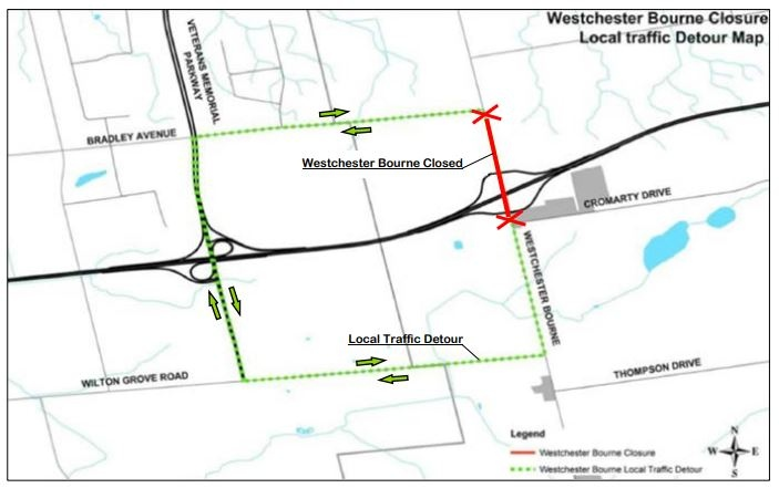 Westchester Bourne closure map